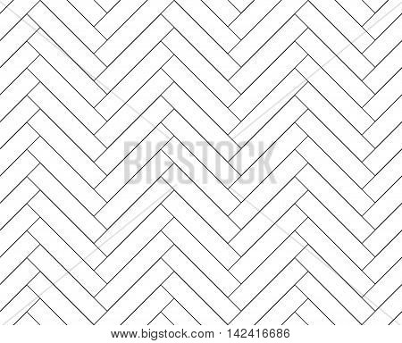 Black and white simple wooden floor herringbone parquet seamless pattern, vector background