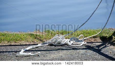 Nylon White Ropes In Oak Bay Marina