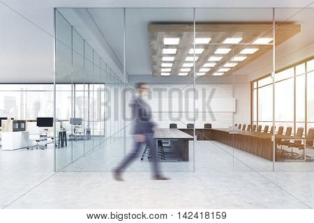 Man in suit walking past conference room in big company office. Concept of business meeting. 3d rendering. Mock up. Toned image