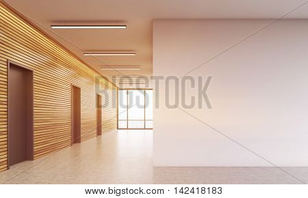 Lobby of office. Wooden and white walls. Concept of business interior. 3d rendering. Mock up. Toned image.