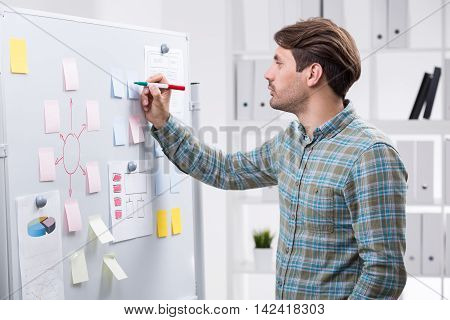 Businessman taking notes at whiteboard sticker. Bookshelves with binders in background. Concept of corporate work and business planning