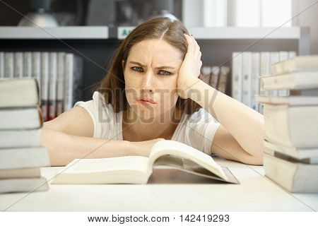 Horizontal Portrait Of Angry, Sad And Frustrated Teenage Girl Wearing Casual Clothes And Daily Make-