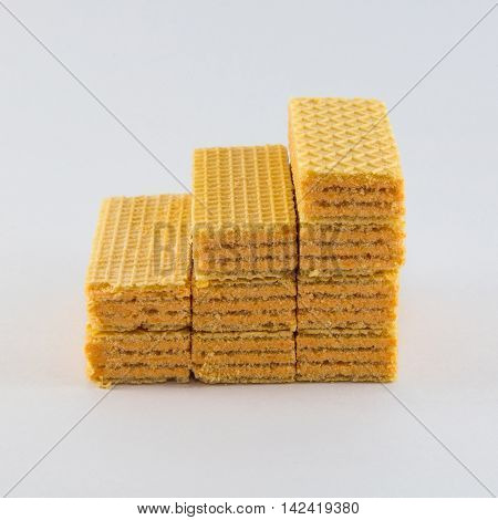 Stack cream wafer on white background, isolated