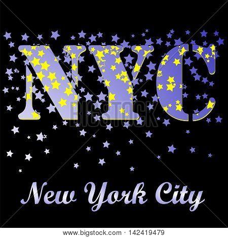 New York T-shirt Emblem.Print Typography. Retro Label. Vintage Sport Pattern. Starry Basketball Logo on Black Background