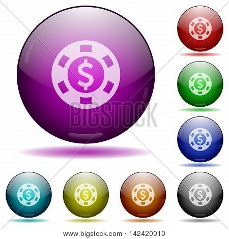 Set of color Dollar casino chip glass sphere buttons with shadows.