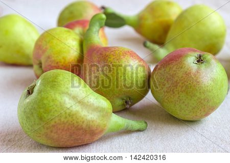 Still life - bright fruit on light fabric. Fancy Pears - closeup. Concept - healthy food.
