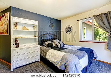 Bedroom Interior With Deep Blue Wall