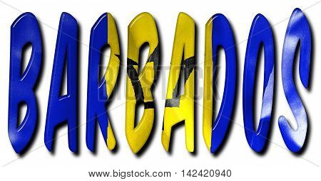 Barbados word 3D illustration with a flag texture on an isolated white background with a clipping path for with and without the shadow