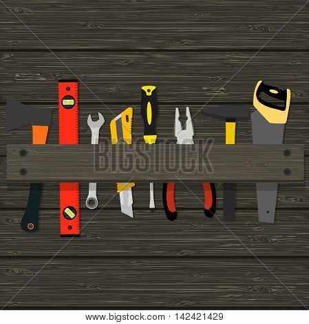 image hammer, pliers, axes and other tools for the construction and repair of a wooden texture