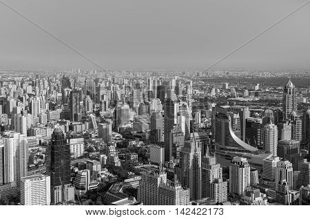 Black and White, Areal view Bangkok central business downtown, Thailand
