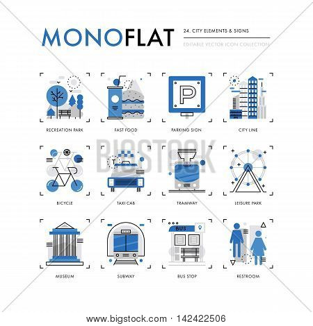 Infographics icons collection of city buildings park recreation zone public transportation. Modern thin line icons set. Premium quality vector illustration concept. Flat design web graphics elements.