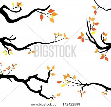 Branch a tree in autumn autumn tree with yellow leaves. Vector illustration.