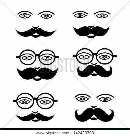 Mustache Man emotion icon set illustration design