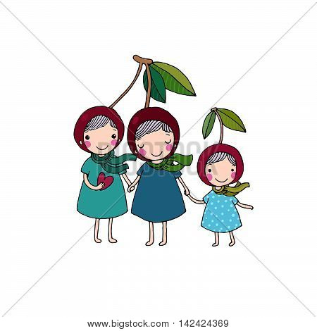 cute little girl cherry. Hand drawing isolated objects on white background. Vector illustration.