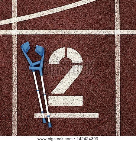 Medicine Crutch For Broken Leg. Number Two. Big White Track Number Two