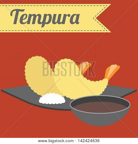 Vector Japanese Food Tempura, flat design on red background
