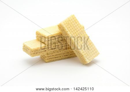 Layers butter cream wafer on white background