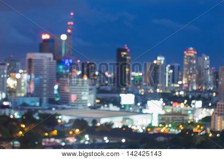 Blurred lights night urban city downtown background