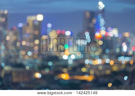 Abstract blurred lights urban city downtown background