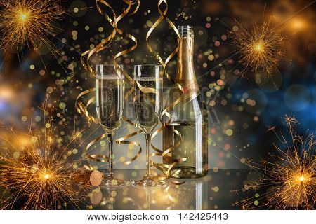 New Year champagne on sparkler background, New Year concept