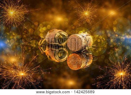 New Year concept with champagne cork, sparkler