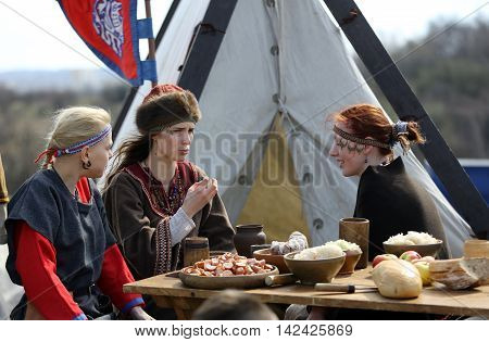 KRAKOW POLAND - MARCH 29 2016: Unidentified participants of Rekawka - Polish tradition celebrated in Krakow on Tuesday after Easter. Currently has the character of festival historical reconstruction
