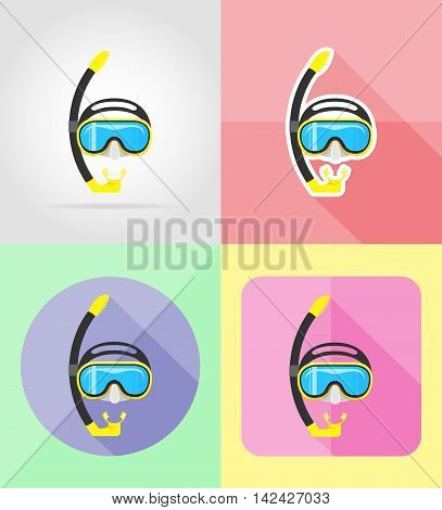mask and tube for diving flat icons vector illustration isolated on background