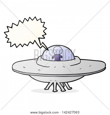 freehand drawn speech bubble cartoon alien flying saucer