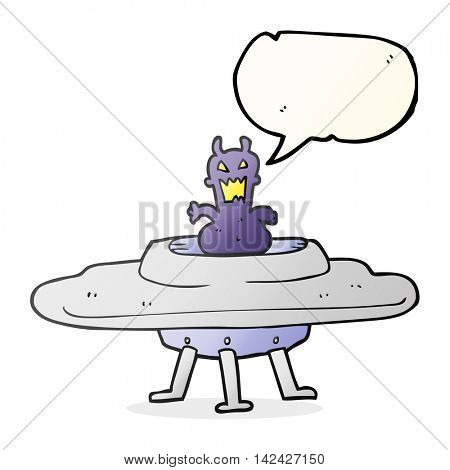 freehand drawn speech bubble cartoon alien in flying saucer