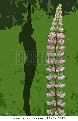 Colorful and crisp image of woman with lupine in yoga position