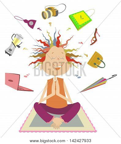 Purchases meditation. Funny woman dreams or meditate about a lot of purchases