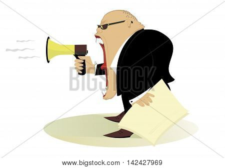 Announcement. Cartoon man with megaphone makes announcement