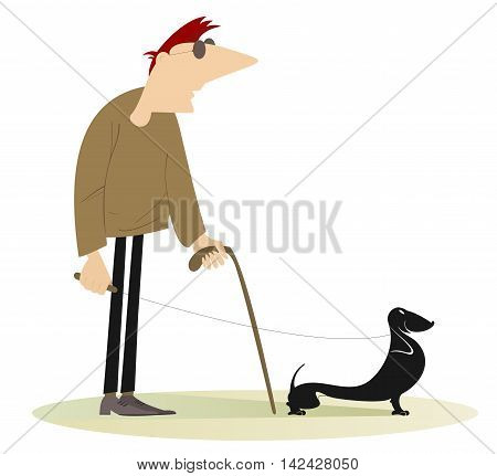 Blind man. Blind man with a guide dog