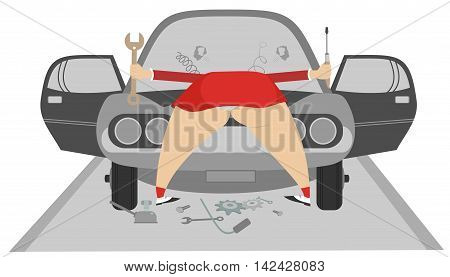 Women repairs a car. Funny cartoon big bottom women repairs a car