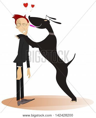 Dog and master. Dog licks his confused master