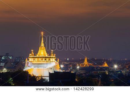 Golden Mount Temple night view, Bangkok Thailand Landmark