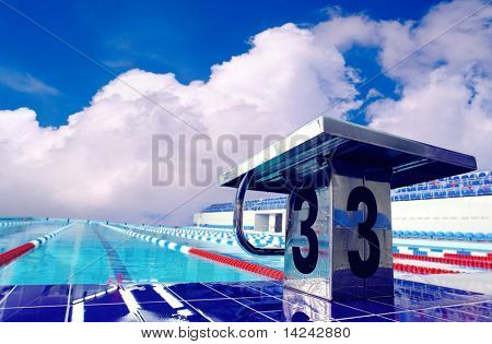 Open sport waterpool with sky