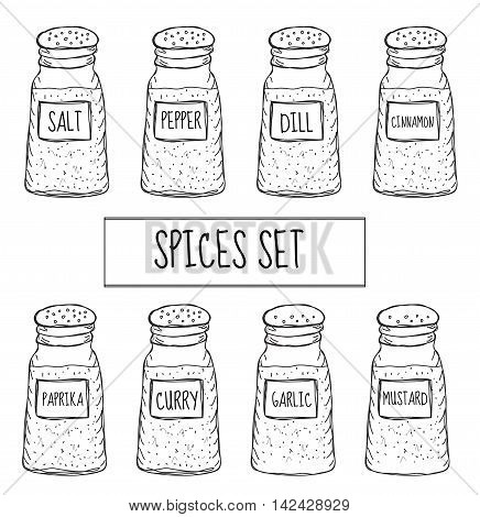 Spices in cans set sketch. Seasoning collection. Hand drawing doodle style. Vector illustration