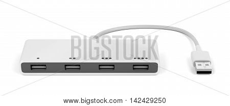 Usb hub with four ports on white background, 3D illustration