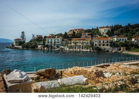 Urban Landscape And The Sea  In Fiscardo, Kefalonia, Greece