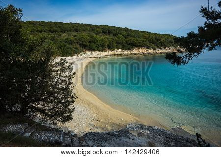 Picturesque Beach Emblisi On The Island Of Kefalonia, Greece
