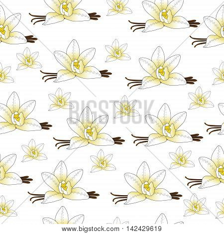Vanilla flower seamless texture vanilla background wallpaper. Vector illustration