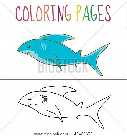Coloring book page shark. Sketch and color version. Coloring for kids. Vector illustration