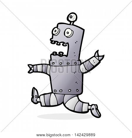 cartoon terrified robot
