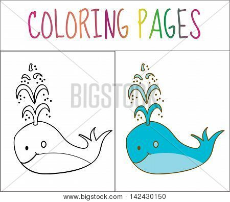 Coloring book page whale. Sketch and color version. Coloring for kids. Vector illustration