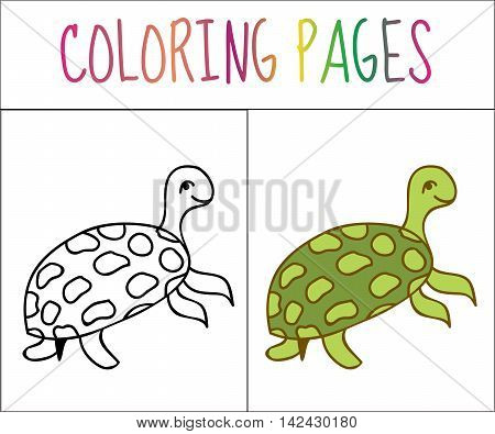 Coloring book page turtle. Sketch and color version. Coloring for kids. Vector illustration