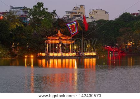 The old Temple of the Jade Mountain at twilight