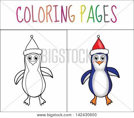 Coloring book page Penguin Christmas. Sketch and color version. Coloring for kids. Vector illustration