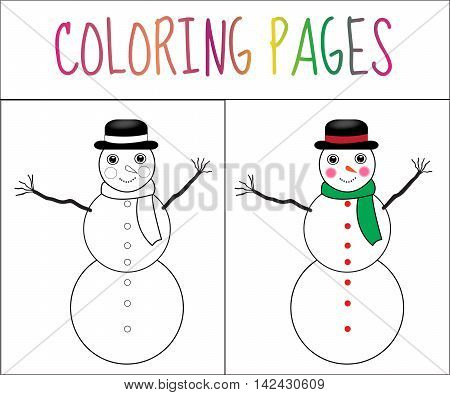Coloring book page snowman new year Christmas. Sketch and color version. Coloring for kids. Vector illustration