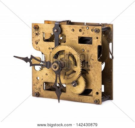 Old clock on a white background mechanist